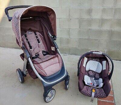 Chicco Bravo Trio Travel Baby Stroller w/ Car Seat Lilla Polka Dot LOCAL PICKUP