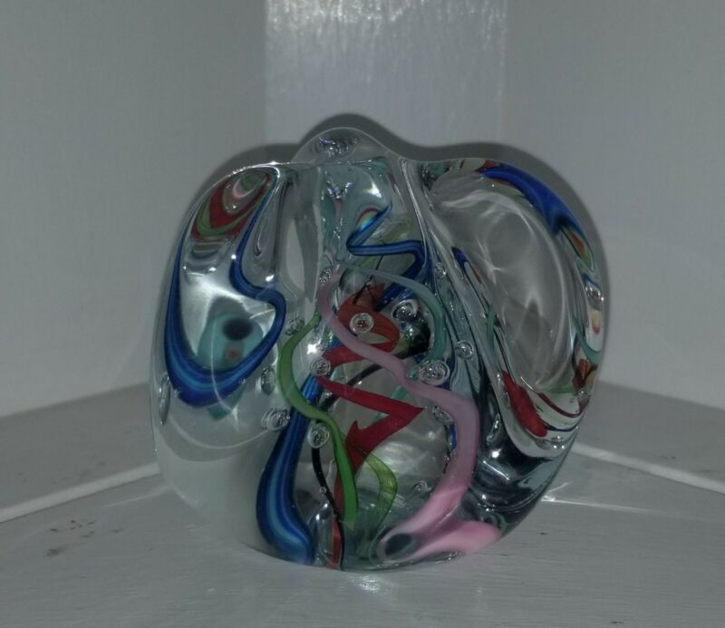 Gibson Handmade Glass Paperweight Multicolor