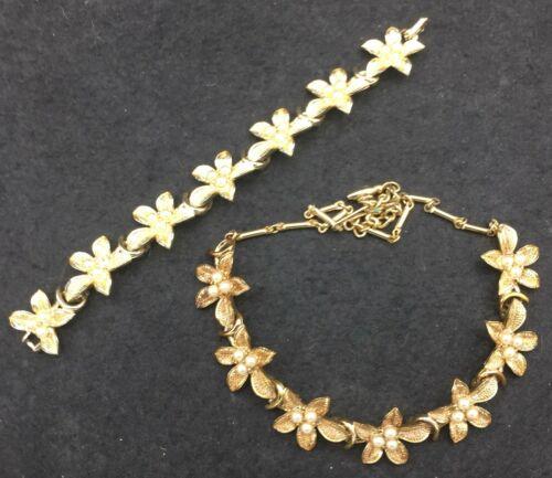 Coro Vintage Fuax Pearl Floral Flower Necklace & Bracelet Jewelry Set
