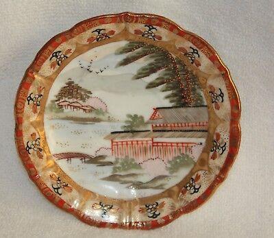 Vintage Japanese Meiji/Kutani Bone China Saucer With Gold Trim Water Scene