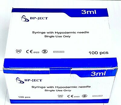 3ml Syringe With Detachable 23g 1.5 Inch Hypodermic Needles 100bx