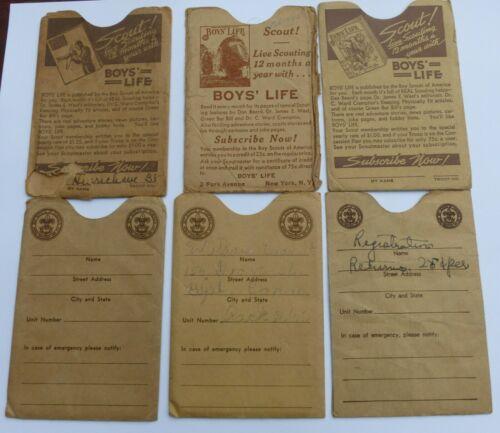 6 Vintage Boy Scout BSA Membership Card Sleeves Boys Life Advertising BePrepared