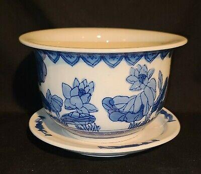 Vintage Chinese Flow Blue Porcelain Planter & Drip Pan
