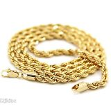 Mens 14K Yellow Gold Plated 4mm Rope Chain Necklace 24""