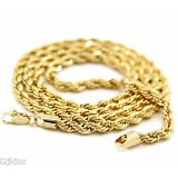 """Mens 14K Yellow Gold Plated 4mm Rope Chain Necklace 24"""""""