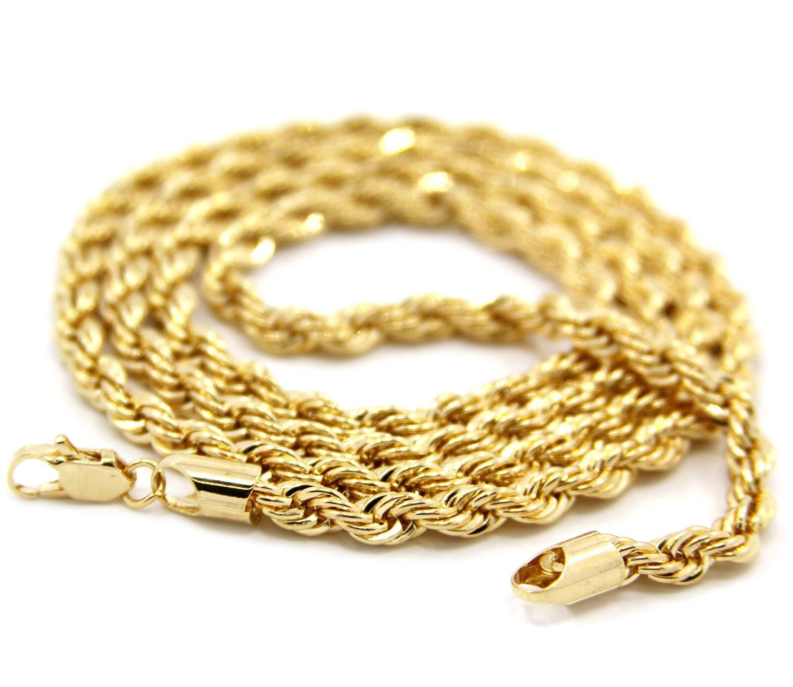 Jewelry - Mens 14K Yellow Gold Plated 4mm Rope Chain Necklace 24""