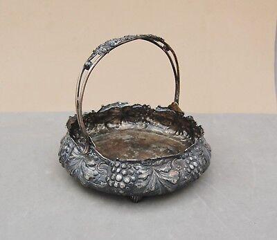 "Simpson Hall & Miller Quadruple Silverplate Brides Basket Grape Antique 6"" Diam."
