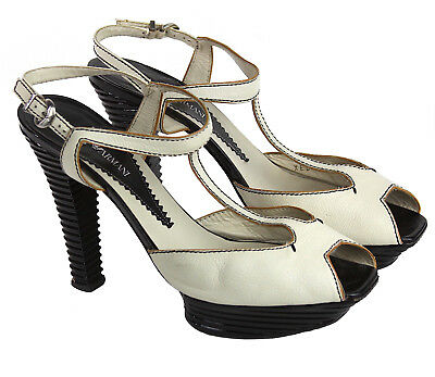 ARMANI Ivory Leather Platform T-Strap Peep Toe Shoes,  Black Ribbed Wood Heel 40 for sale  Shipping to Canada
