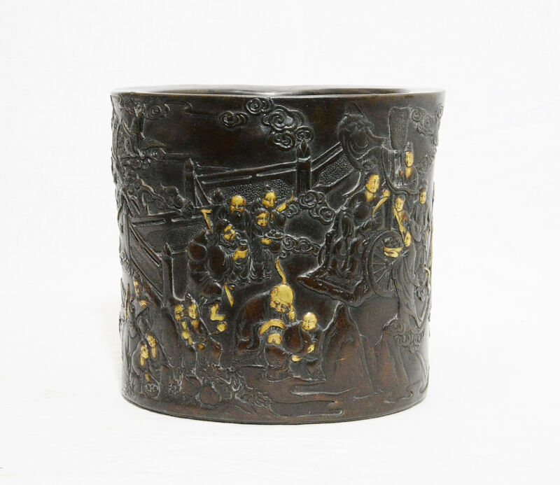 Chinese  Bronze  Brush  Pot  With  Mark