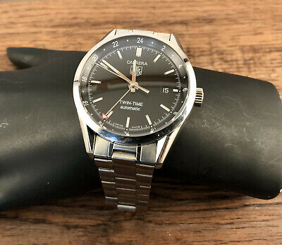 Tag Heuer Carrera Twin-Time WV2115-0 39mm Black Dial Swiss Made (Tag Heuer Carrera Twin Time Wv2115 0)