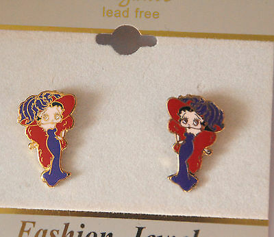 Red Hat Theme Betty Boop Earrings / Post or Stud / Gold-tone Accent