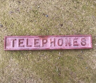 Antique Cast Iron Wall Plaque Sign Badge - TELEPHONES - Vintage Salvage - 1930s
