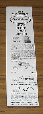 1960 Vintage Ad Arbogast Weedless Bottom Bumper,Jitterbug,The Eye Fishing Lures