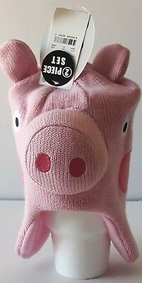 Peppa Pig Hat & Mittens Set One Size Fits Most (Baby/Toddler) New With - Peppa Pig Hat