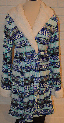 (Women's Rue 21 Blue Geo Stripe Hearts So So Soft Plush Hooded Robe Sizes S-XL)