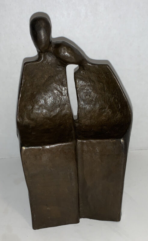 """Bronze Metal Signed Sculpture-Couple Resting-Head on Shoulder on Bench-5.5""""Tall"""