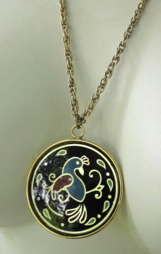 COLORFUL TROPICAL BIRD PENDANT NECKLACE CONVEX COVER ROPE LINK CHAIN Vintage