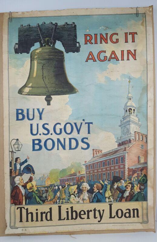 Original Ring It Again Buy US Government Bonds Third Liberty Loan WWI Poster