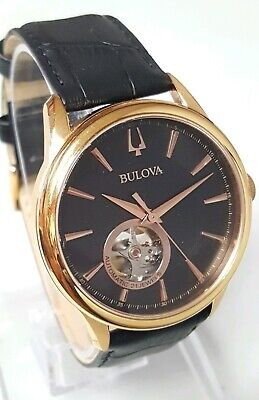 Bulova 97A140 Men's 42mm Gold Tone S/Steel Black Dial Automatic Watch SHIPS FREE