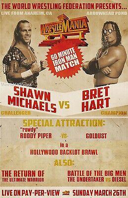 Wrestlemania 12 Shawn Michaels V Bret Hart Retro Wrestling Poster WWF Vintage