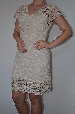 $139 Boston Proper Elegant V-neck Crochet Lined Dress Cotton Nude Ivory Size (Naked Cotton Dress)