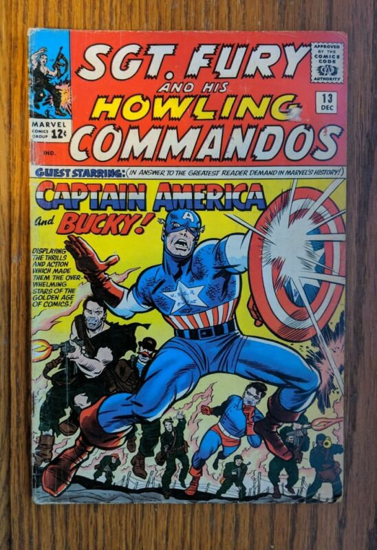 Sgt. Fury and his Howling Commandos #13 1st time with Captain America and Bucky!