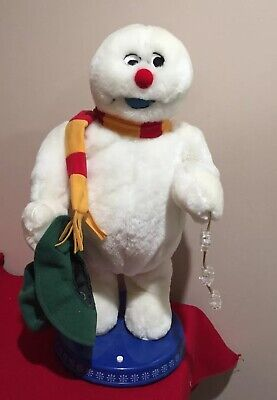 Gemmy Spinning Snowflake Frosty The Snowman Light Up Dancing Singing Christmas
