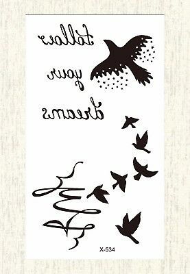 US SELLER, tattoo on wrist for girls birds words temporary tattoo