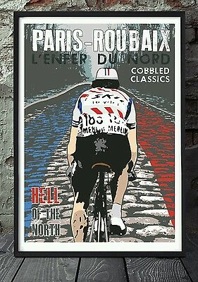 Paris roubaix bicycle poster celebrating the classics . Specially created