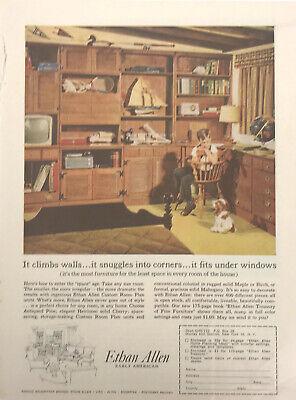 Ethan Allen Furniture Home Decor Magazine Print Ad Vintage Household Boy Room