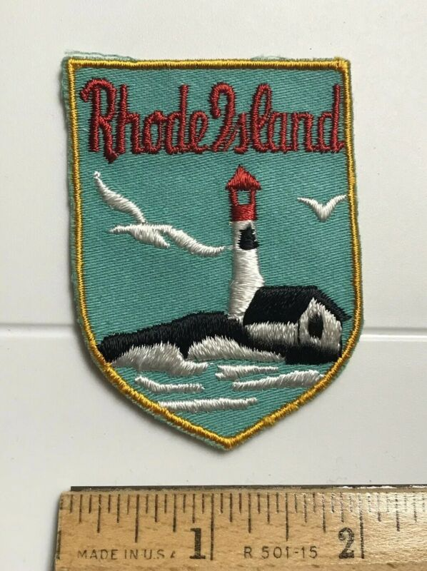 Rhode Island Atlantic Lighthouse Flying Seagulls Souvenir Embroidered Patch