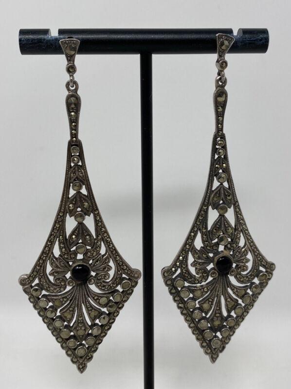 "Vintage Art Deco Sterling Silver & Marcasite Onyx  3.5"" Long Dangle Earrings"