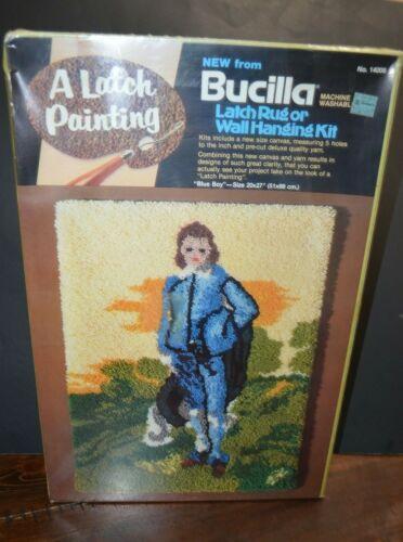 "BUCILLA Latch Hook RUG WALL HANGING KIT 20""x27"" Blue Boy 14006 Craft Painting"