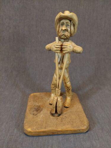 Vintage Hand Carved Wood Figurine of Farmer 1994