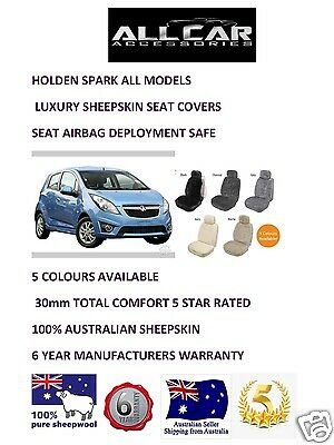 Sheepskin Car Seatcovers for Holden Spark all models Seat Airbag Safe  30mm TC