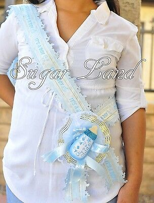 Baby Shower Mother Mom To Be It's A Boy Blue Sash Banner Handmade Ribbon Favors - Mom Shower