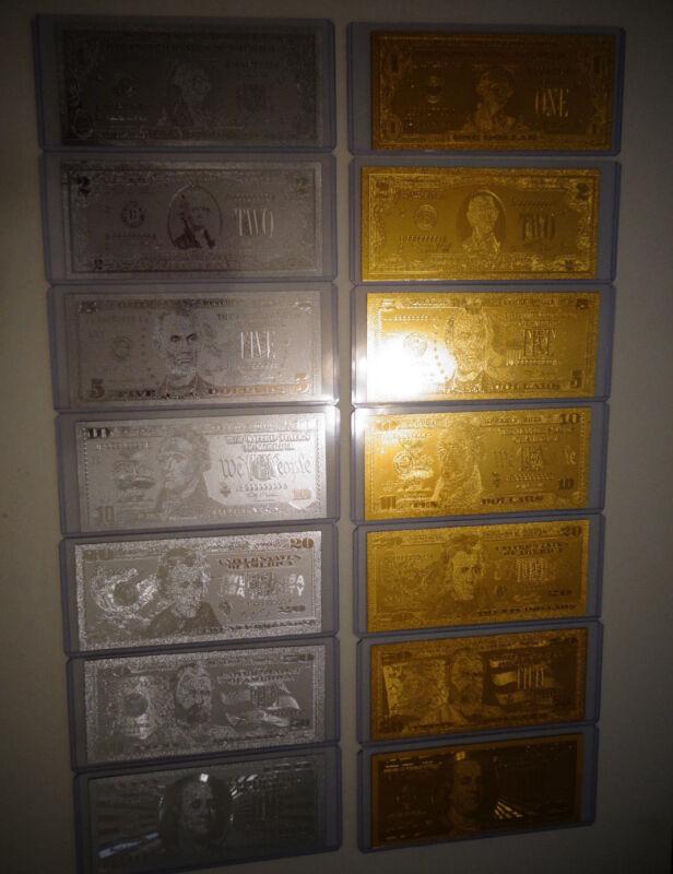 14- GOLD + SILVER DOLLAR BILL SET, $1-2-5-10-20-50-100 +EACH IN PVC BILL HOLDER.