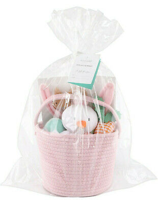 The Peanutshell Girls Pink Easter Basket Gift Set~Rattle Plush Teether Bunny Hat](Girls Easter Baskets)