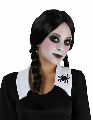 Women's Black Plait Plaited Wig Addams Family Wednesday Halloween Fancy Dress (Wednesday Addams Wig)