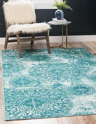Throw Rug Teal White Vintage Retro Living Room Bedroom Accent Area Floor Mat 5x8 ()