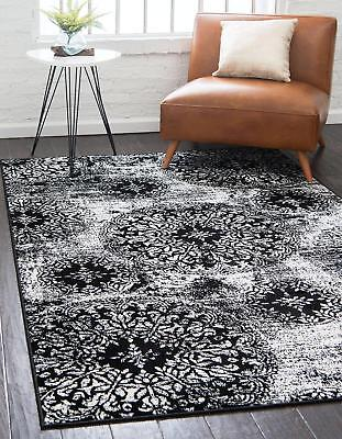 Throw Rug Black And White Vintage Living Room Bedroom Accent Area Floor Mat 5x8 - White Throw Rug