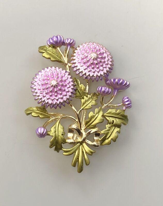 Unique  flower Brooch Pin enamel On metal