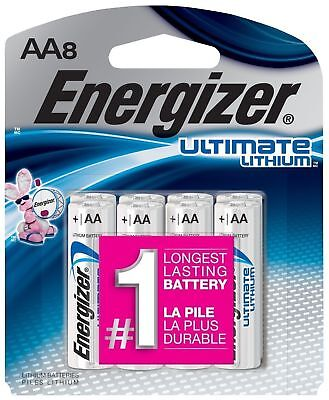 Energizer Ultimate Lithium AA Batteries 8 Pack Exp. 2038 (L91SBP-8) for sale  Rochester