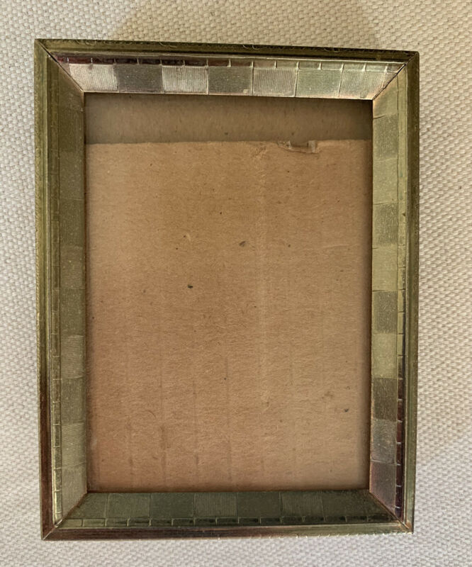 """Vintage Gold Tone 3 3/8"""" x 4 4/8"""" Small tiny  photo picture frame."""