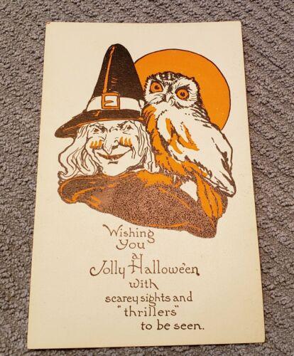 Vintage Halloween Postcard - Witch 1920