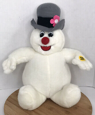 "Vintage Gemmy Singing Frosty The Snowman Plush Stuffed 14"" Sitting Animated"