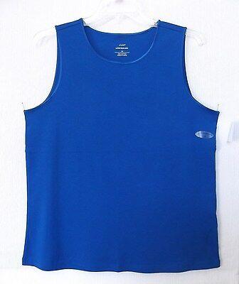CJ Banks Size 2X Royal Blue Sleeveless knit top, satin trim, 100% cotton  NWT