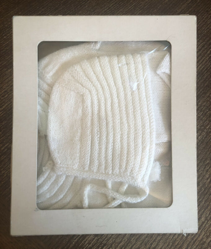 Vintage Baby Girl White Bonnet Hat & Cardigan Sweater Set with Box Knit 3-6M