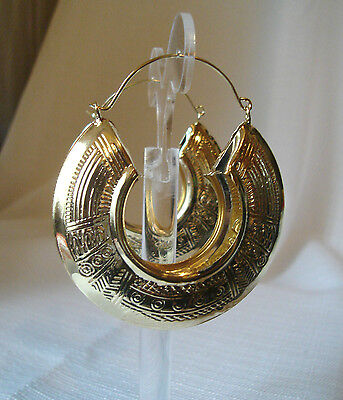 BOHEMIAN EGYPTIAN DESIGN GOLDTONE HOOP EARRINGS 2.25 INCH HOOPS