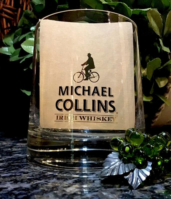 Rare MICHAEL COLLINS Irish Whiskey Gold Foil Rocks Glass PRISTINE!